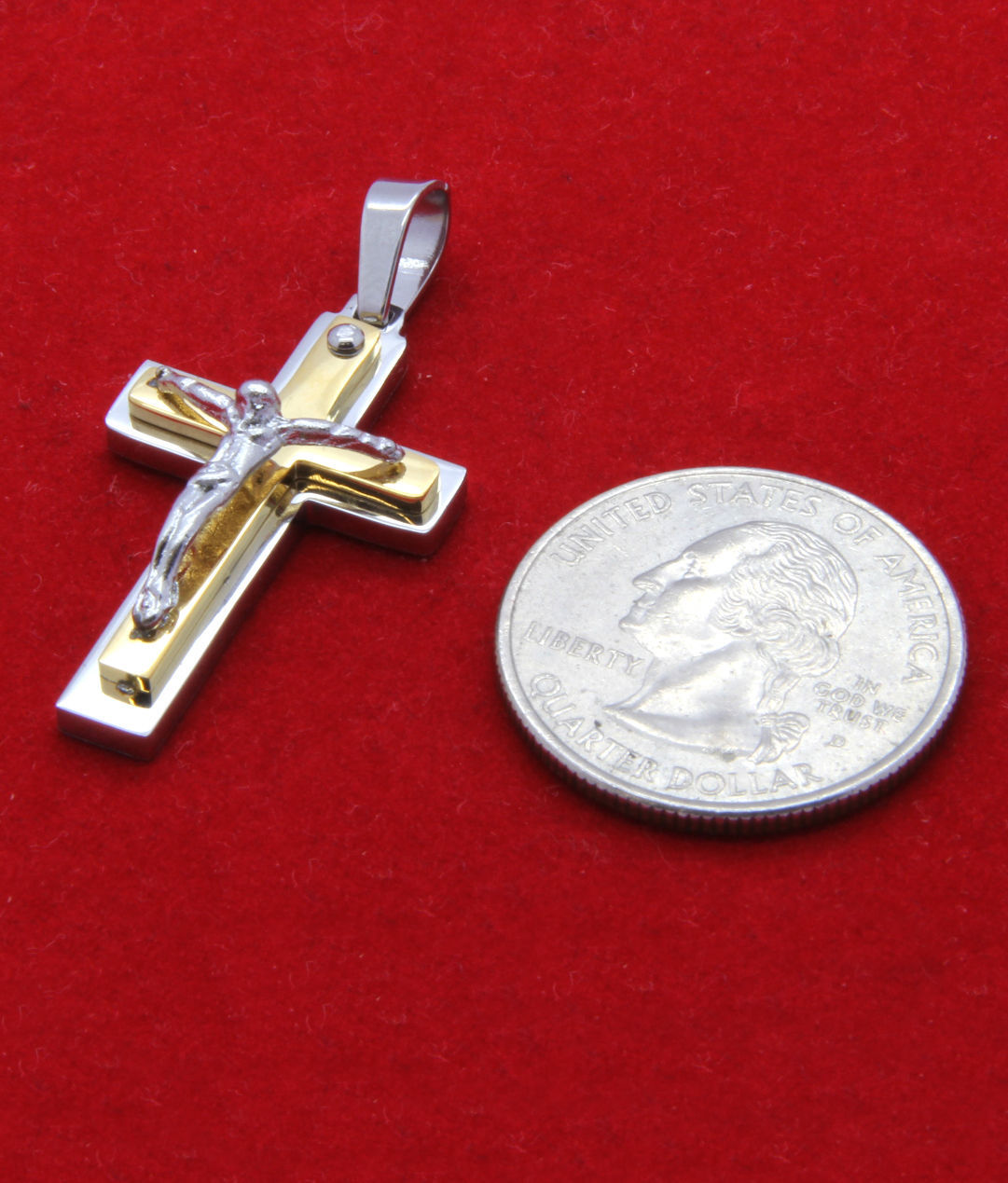 "Silver 2 Tone Stainless Steel Mini Jesus Cross Pendant 24"" Cuban Necklace Chain"