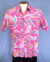 Rai Nani Large Button Down Reverse Print Hawaiian Shirt Pink Floral Vintage - $35.00