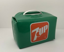 Vintage 7 UP Personal Cooler Vinyl 6 Pack Soda Pop Advertising Green USA - $35.59