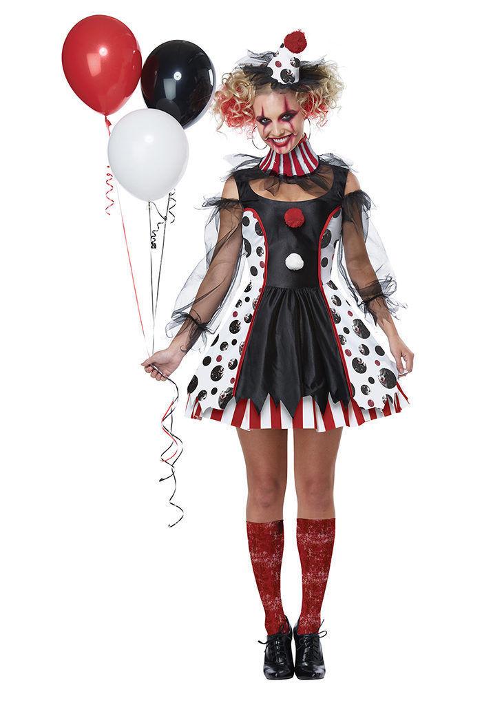 Californie Déguisement Tordu Clown Cirque Adulte Femmes Halloween 01435