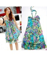 Bohemian summer Floral Chiffon Dress Halter neck women maxi knee length - $21.99