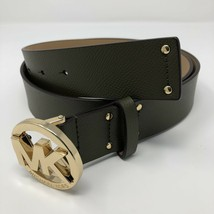 MICHAEL KORS Womens Leather Belt with Gold Logo Buckle Green Sz L MSRP $58 - $48.37