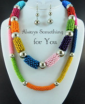 Multi Color Beads Double Strand With Silver Beads Necklace & Earring Set  - $24.99
