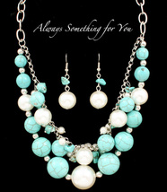 Multi Strand Necklace Set With Turquoise Silver Chain And White Pearl Beads - $19.99