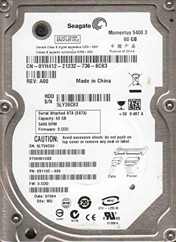 ST960813AS, 5LY, WU, PN 9S113C-030, FW 3.CDD, Seagate 60GB SATA 2.5 Hard Drive