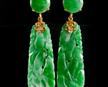 Vintage 1950's 10k Yellow Gold Carved Oval Jadeite Dangle Earrings 28.6ctw
