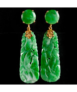 Vintage 1950's 10k Yellow Gold Carved Oval Jadeite Dangle Earrings 28.6ctw - £1,268.61 GBP