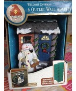 Santa's Power Hand Painted Christmas Welcome Snowman 6 Outlet Wall Adapt... - $17.99