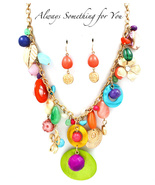 Multi Color Various Charms Necklace & Earring Set - $19.99