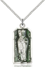 Sterling Silver St. Patrick Pendant 1 X 1/2 inch with 18 inch Chain - $69.30
