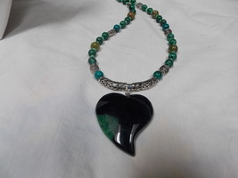 Hand made, one of a kind beaded necklace Malachite - $57.00