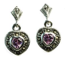 Sterling Silver Dangle Heart Marcasite Pierced Earrings Pink CZ NEW - $23.76