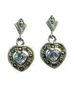 Sterling Silver Dangle Heart Marcasite Pierced Earrings Lavender CZ NEW - $23.76