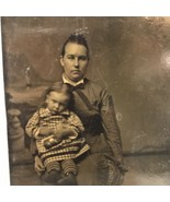 Antique Tintype Studio Photograph Seated Woman Mother and Child Daughter On Lap - $19.79