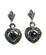 Sterling Silver Dangle Heart Marcasite Pierced Earrings Purple Amethyst ... - $23.76
