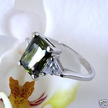 Sterling 3 Stone Green Square CZ Solitaire Accent Ring - $24.74