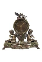 Twin Cherubs Playing Instruments Clock Bronze - £59.63 GBP