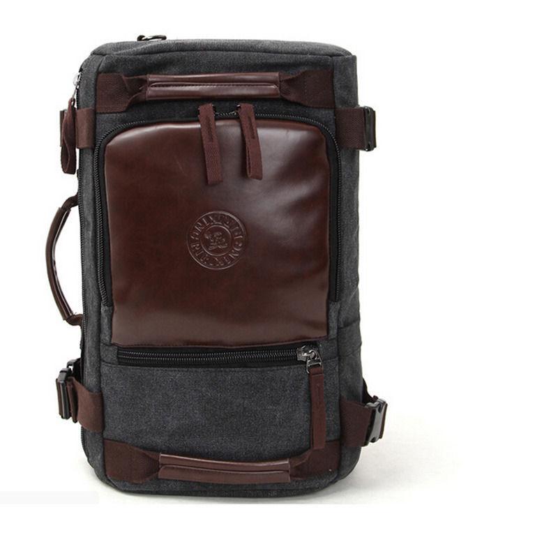 Vintage Canvas business Rucksack laptop shoulder bag travel backpack Camping bag