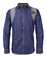 Platini Men's Multi Tone Patch Checkered Casual Button up Dress Shirt (2XL, Blue