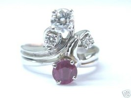 Natural Ruby Diamond Cocktail Solid White Gold Jewelry Ring 14Kt 1.01Ct ... - $1,311.75