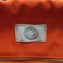 HERMES Sac de Pansage Groom Cotton Canvas Navy Brown Feu Tote Bag #D Authentic image 7