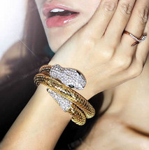 New Punk Snake Style Fashion Charm Womens Golden Cuff Bracelet Bangle Gift - $6.79
