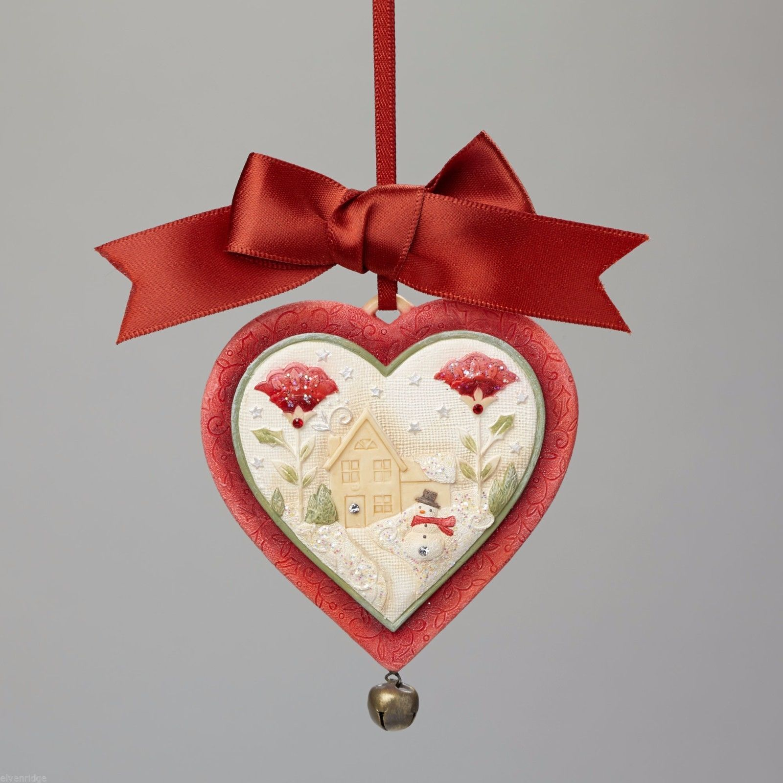 Heart of Christmas hanging ornament  adorable with cozy home scene and card