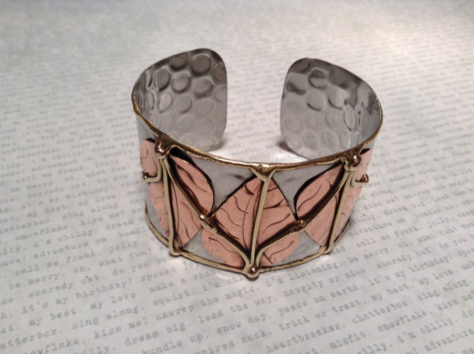 Handmade Mixed Metal Cuff Bracelet Three Leaves 925 Silver plated