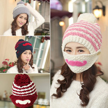 New Popular Women Winter Korean Warm Knit Beanie Cap With Mask Free Ship... - $9.95