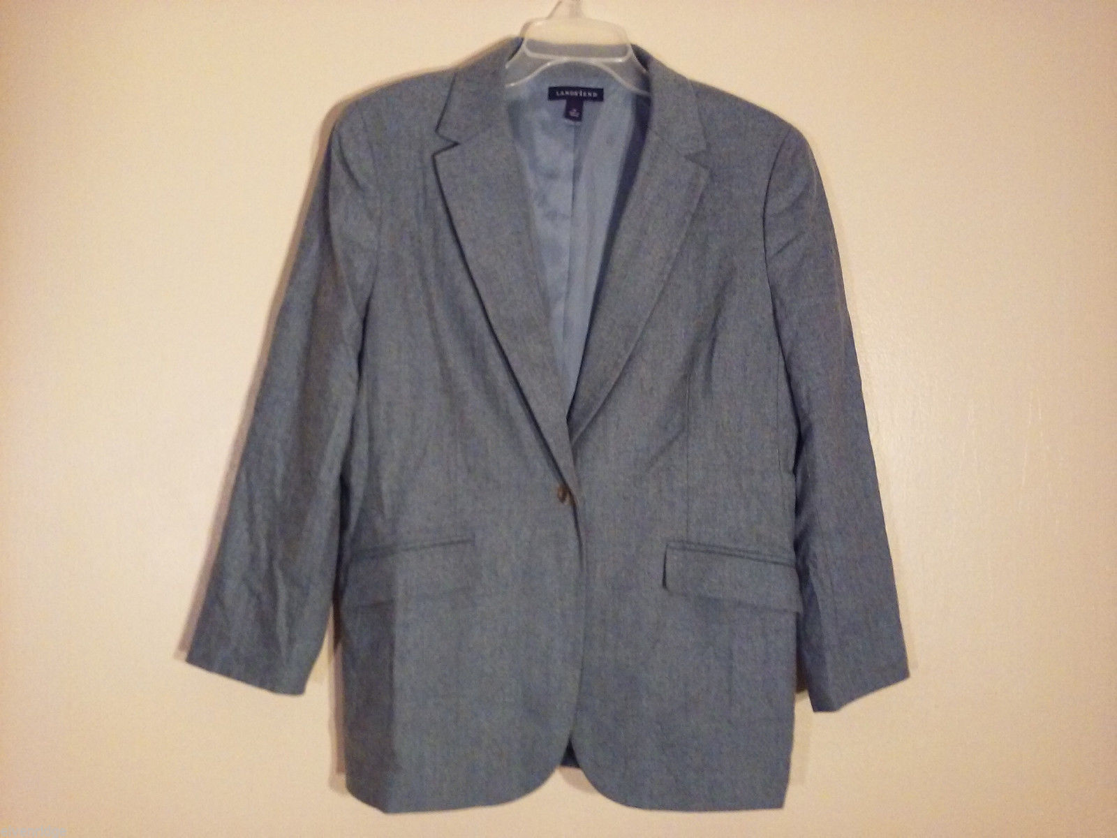 Lands' End Women's Size 10P 10 Petite Blazer Herringbone Tweed Gray Wool Blend