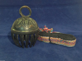 "Large Ornate Tibetan Cowbell Cow Bell w/ Colorful Hand-Woven Strap 5"" x 10"" #1"