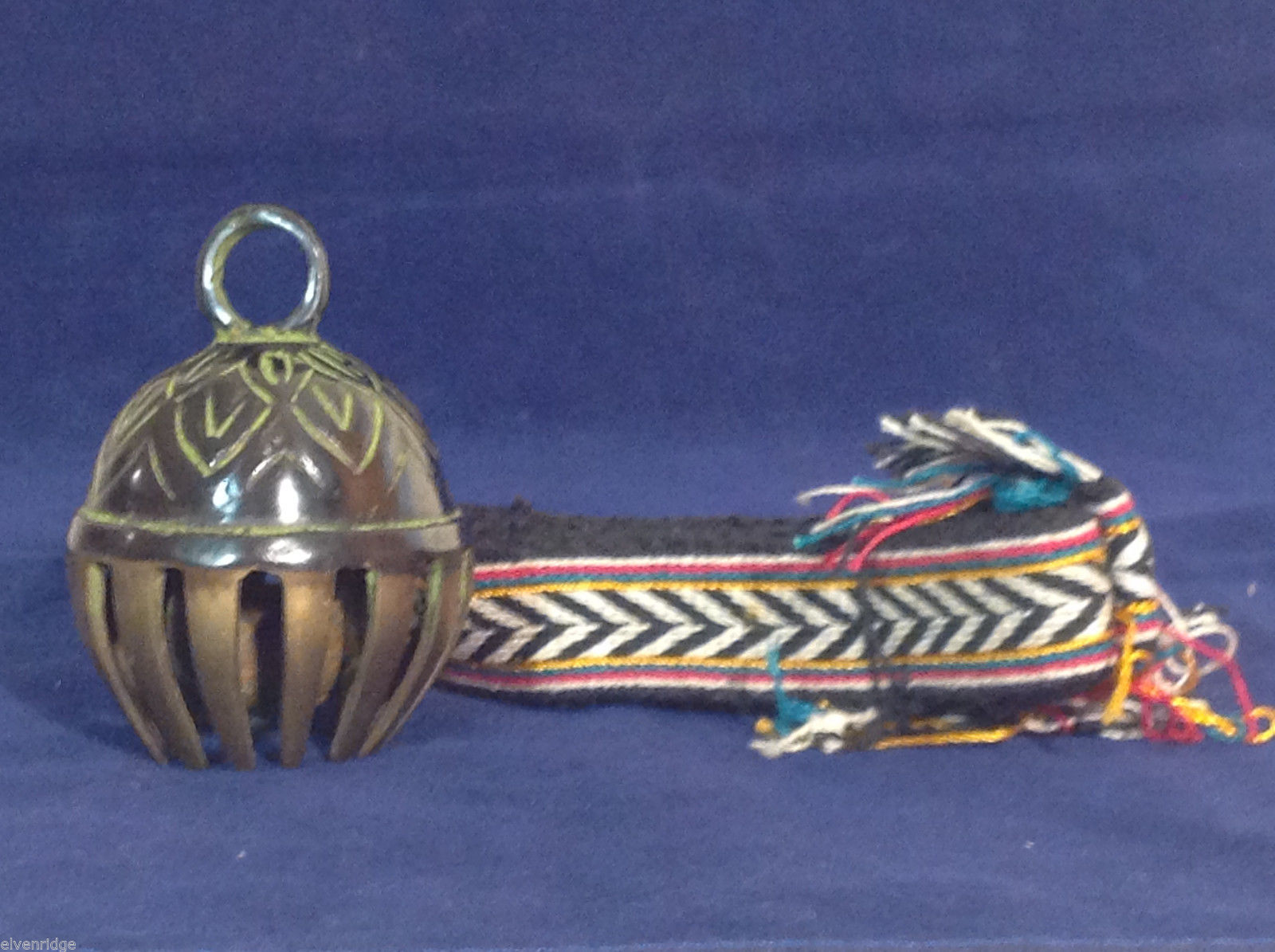 "Ornate Tibetan Cowbell Cow Bell w/ Colorful Hand-Woven Strap 3.5"" x 7"" #1"