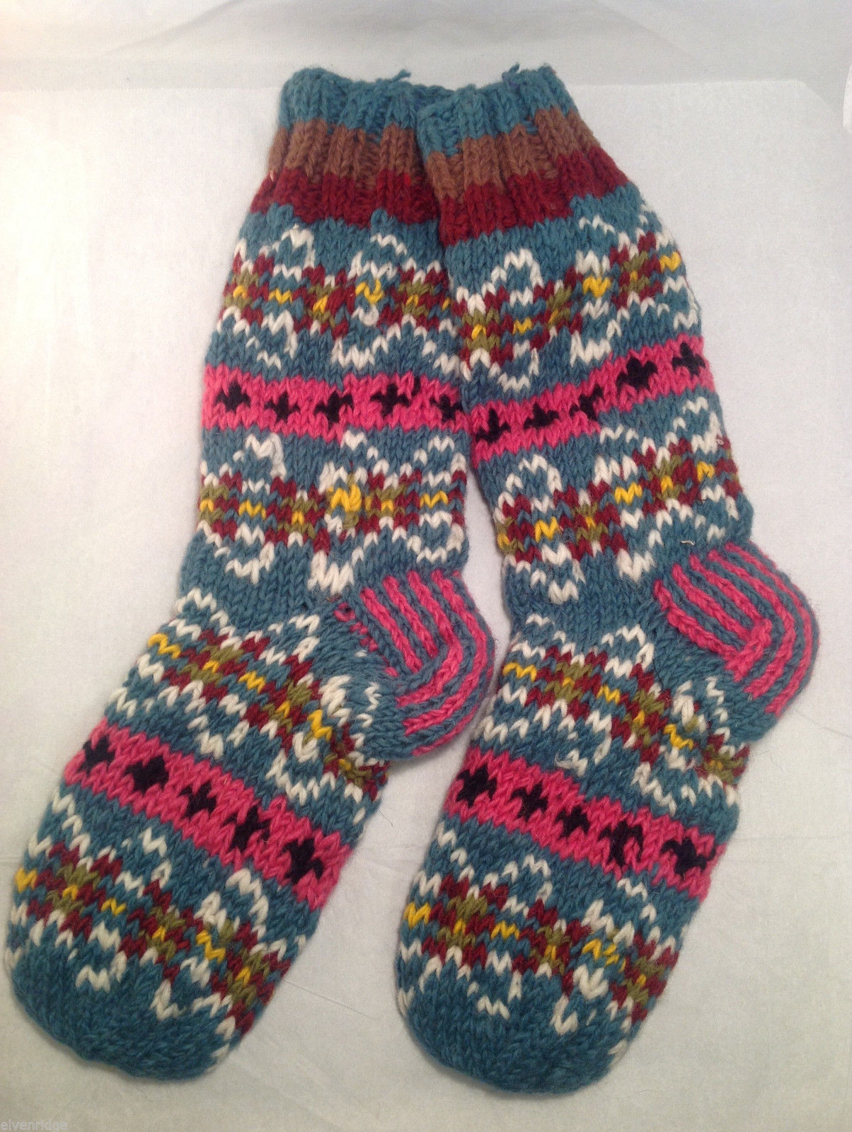Socks Hand-Knit in Nepal Unisex Men Women Teal Blue Pink Patterned Colored