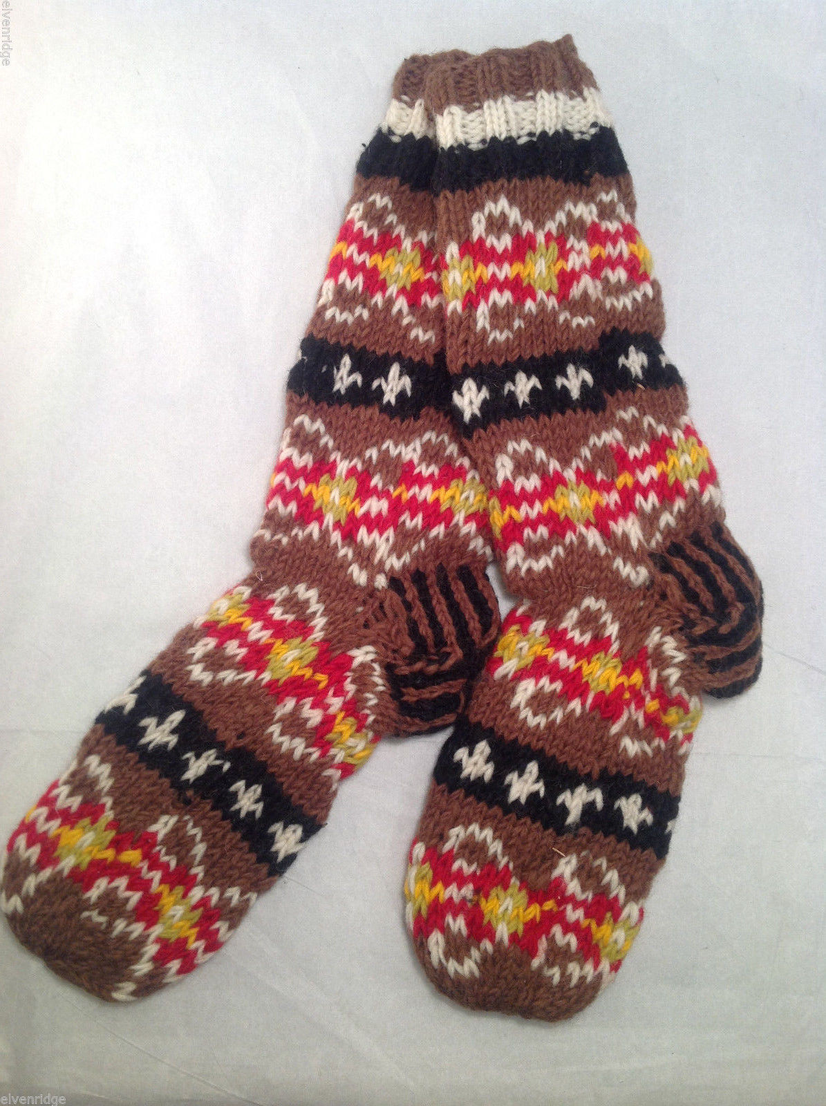 Socks Hand-Knit in Nepal Unisex Men Women Brown Red Black Patterned Colored