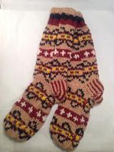 Socks Hand-Knit in Nepal Unisex Men Women Tan Red Yellow Black Patterned Colored