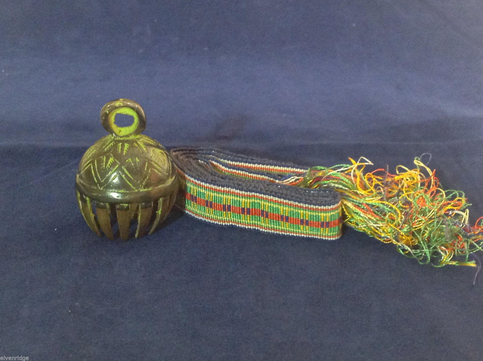 "Small Ornate Tibetan Cowbell Cow Bell w/ Colorful Hand-Woven Strap 2.5"" x 6"" #1"