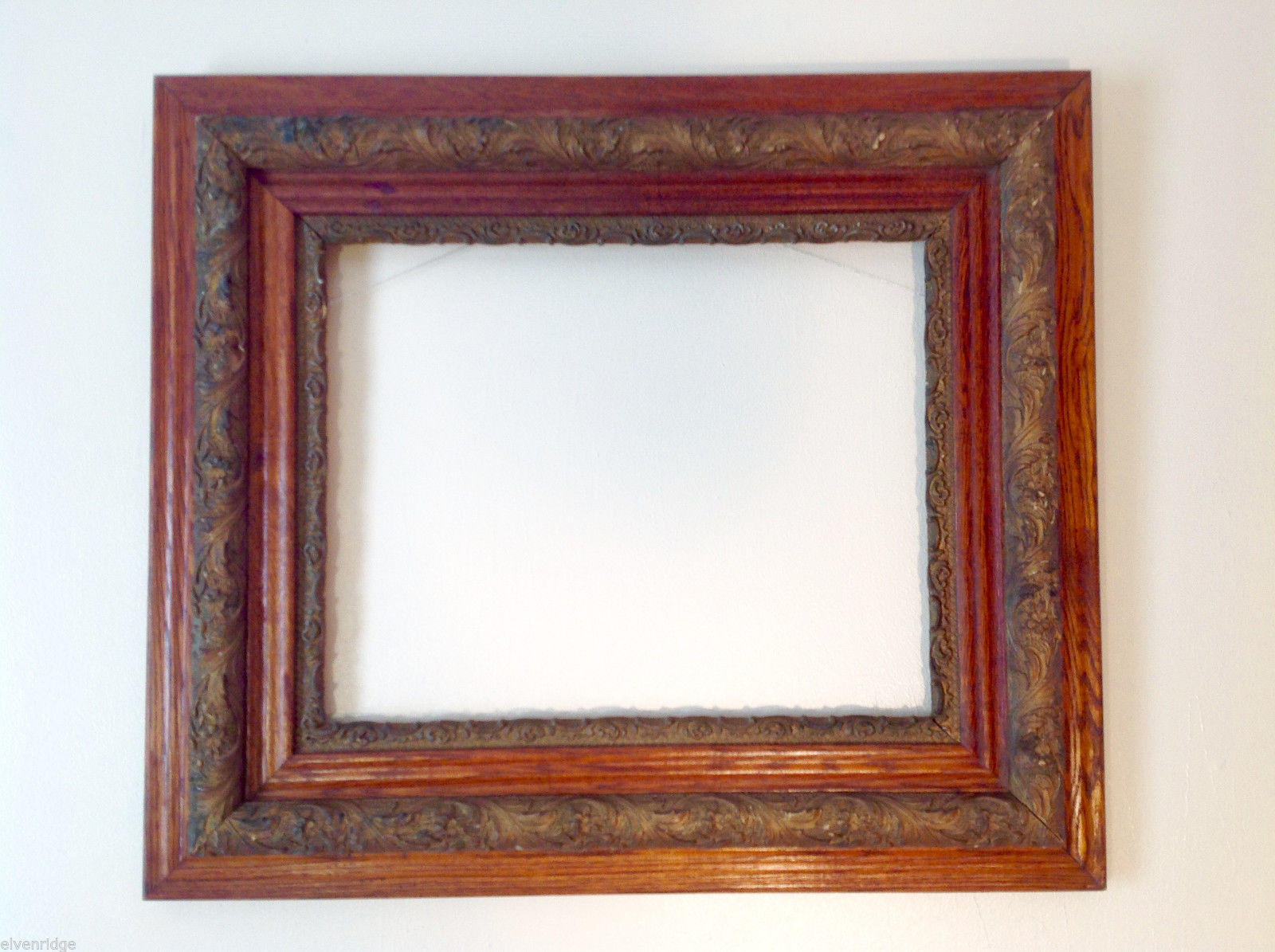"Wooden Picture or Art Frame Vintage Antique Carved Wood for 19.25"" x 15.5"" Piece"