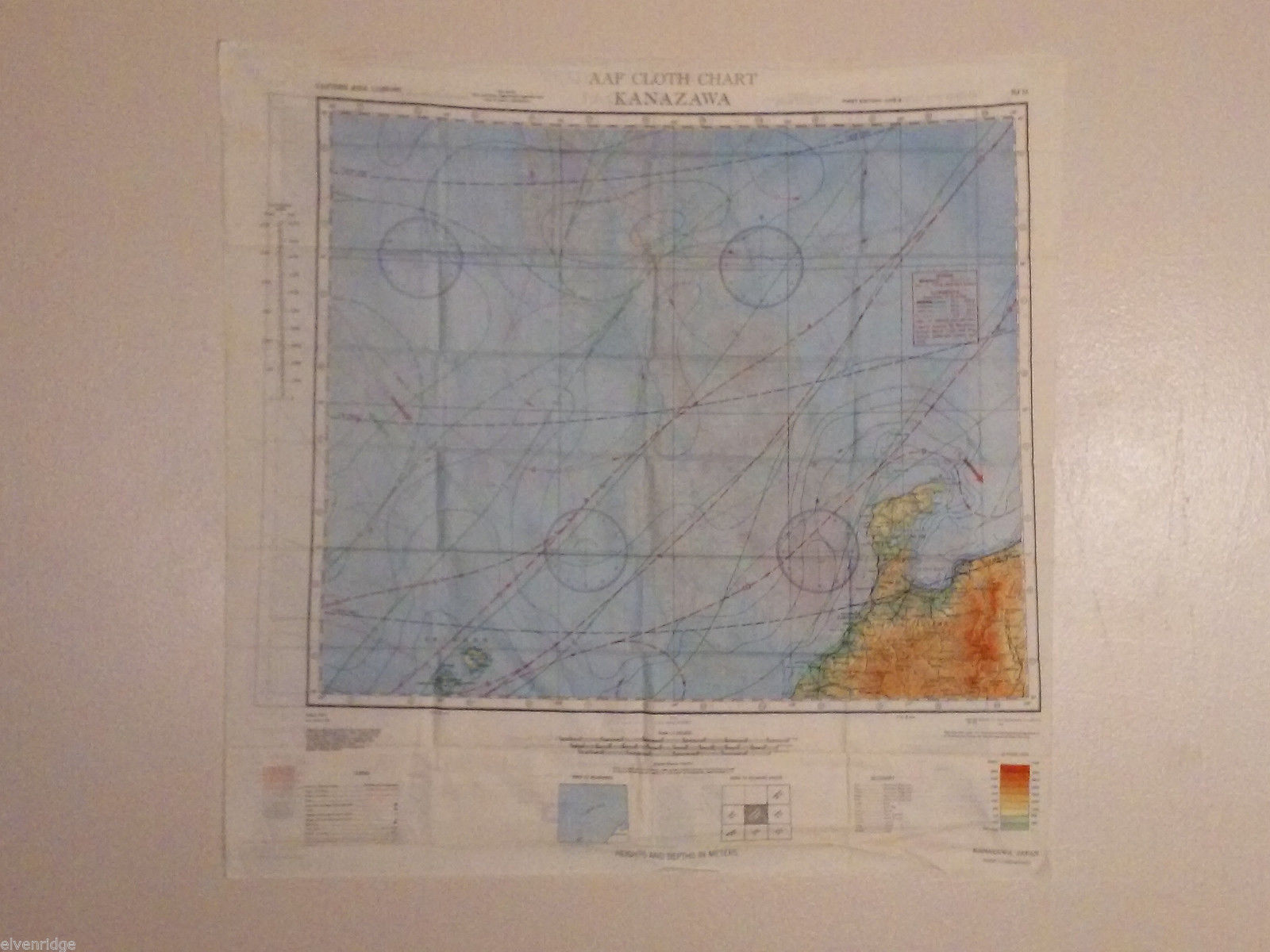 Vintage AAF Map of Japan Reversible Cloth 1943 WW2 (WWII) US Military Air Force