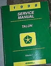 1998 Eagle Talon Service Repair Shop Manual Volume 1 Only Mopar Dealership Book - $8.01