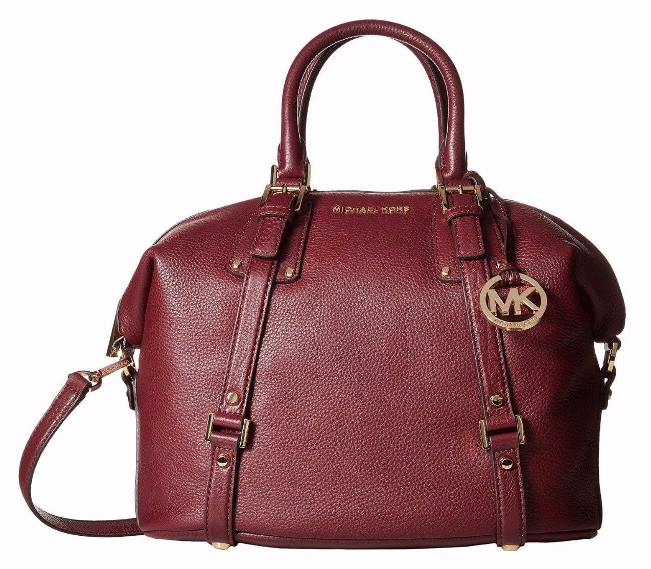 NWT Michael Kors Bedford Belted Large Satchel Leather 30F5GBFS3L Merlot $428