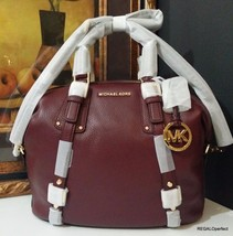 NWT Michael Kors Bedford Belted Large Satchel Leather 30F5GBFS3L Merlot ... - $341.99