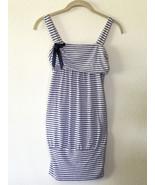 Stripe Nautical Tank Tunic Dress • Blue & Ivory Jersey Knit • Euro M Italy - $9.85