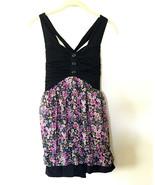 European Black Floral Flounce Knit Mini Dress • XS • Strappy Tank Party ... - $11.83