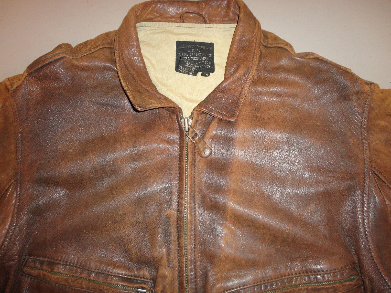 Vintage 80`s Avirex G-2 Top Gun Navy Brown Leather Bomber Jacket 44 Free US SHP