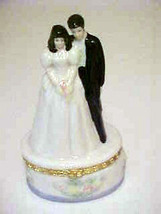 Trinket Ring Box Brunette Bride Groom Wedding Cake Topper   - $8.85