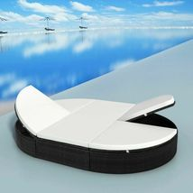 """vidaXL Sunlounger with Cushion Poly Rattan 78.7"""" Lounge Beds Seat Black/Brown image 9"""