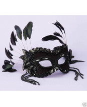 Sexy Masquerade Karneval 1/2 Mask - Feathers & Beads Black - $26.99