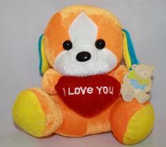 New Snuggle Toys DOG Orange Blue I Love You Hea... - $15.47