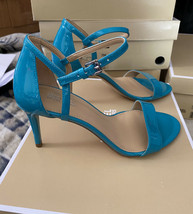 Michael Kors Simone Mid Patent Leather Tile Blue - $64.35
