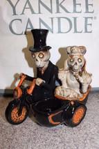 NEW 2010 Motorcycle Side Cart Couple Boney Bunch Yankee Candle Holder Ha... - $72.67